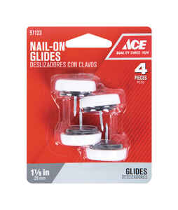 Ace  Plastic  1.13 in. Nail On  Cushioned Glide  4 pk