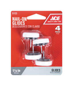 Ace  1-1/8 in. W 1.13 in. Plastic  Nail On  4  Cushioned Glide