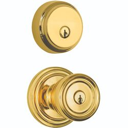 Brinks Push Pull Rotate Barrett Polished Brass Knob and Deadbolt Set ANSI Grade 2 1.75 in.