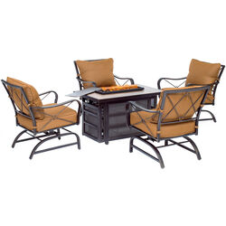 Hanover  Summer Nights  5 pc. Brown  Aluminum  Firepit Seating Set