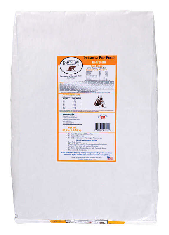 Beaverdam  Hi-Protein Yellow Label  Pork and Chicken  Dry  Dog  Food  20 lb