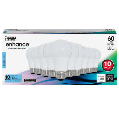 Feit Electric  Enhance  A19  E26 (Medium)  LED Bulb  Daylight  60 watt Watt Equivalence 10 pk