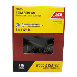 Ace  No. 6   x 1-5/8 in. L Square  Trim Head Black Phosphate  Steel  Trim Screws  1 lb. 265 pk