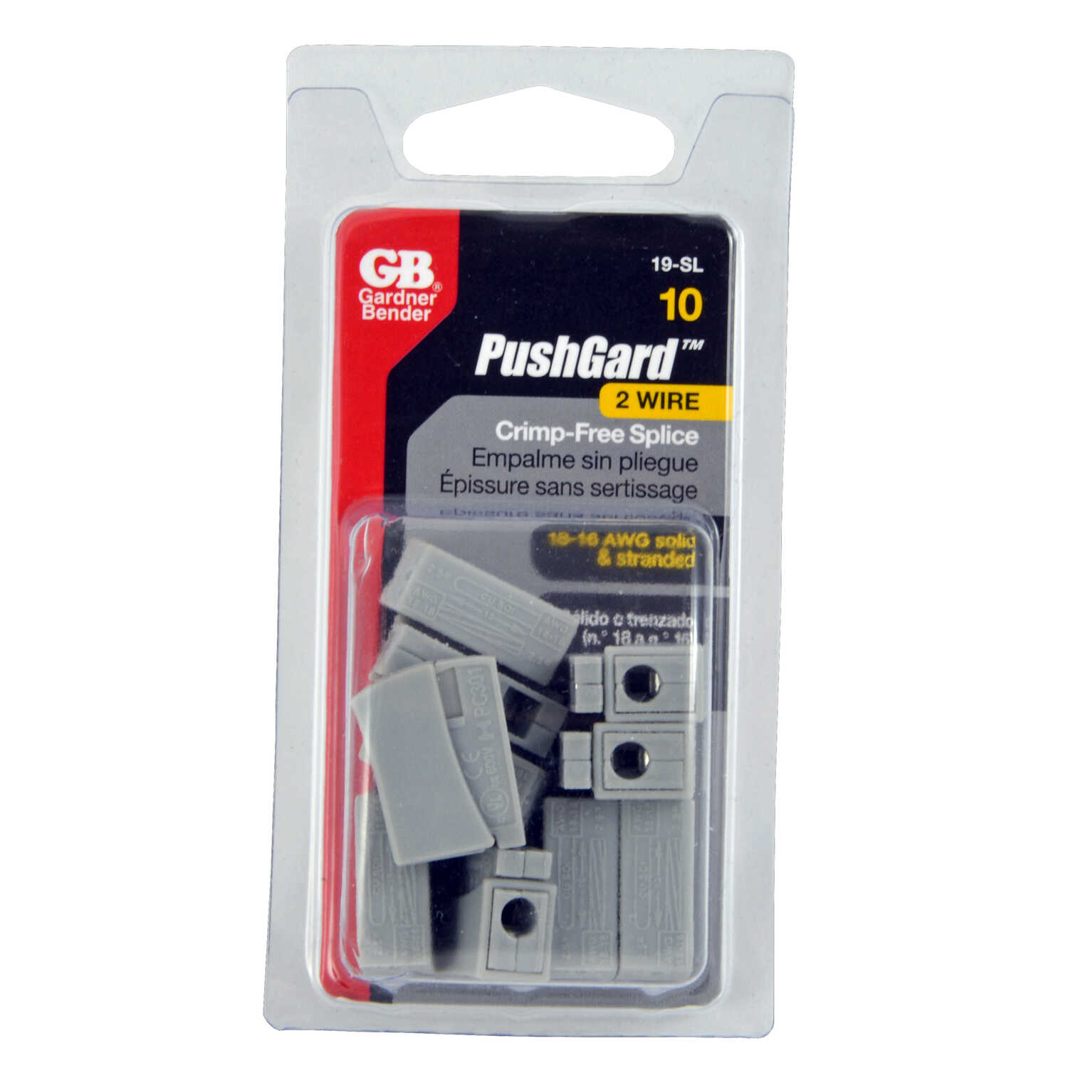 Gardner Bender  PushGard  18-16 Ga. Splice Connector  Gray  10 pk