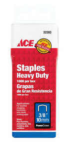 Ace  3/8 in. L Steel  Wide Crown  Heavy Duty Staples  1000