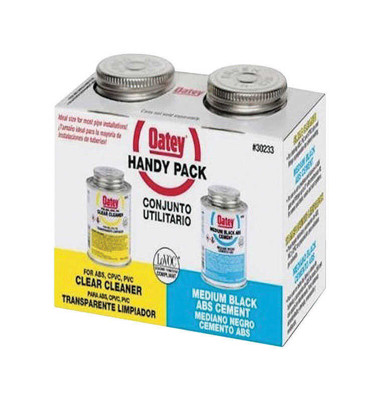 Oatey  Handy Pack  Clear/Black  For ABS 2 pk Cement and Cleaner