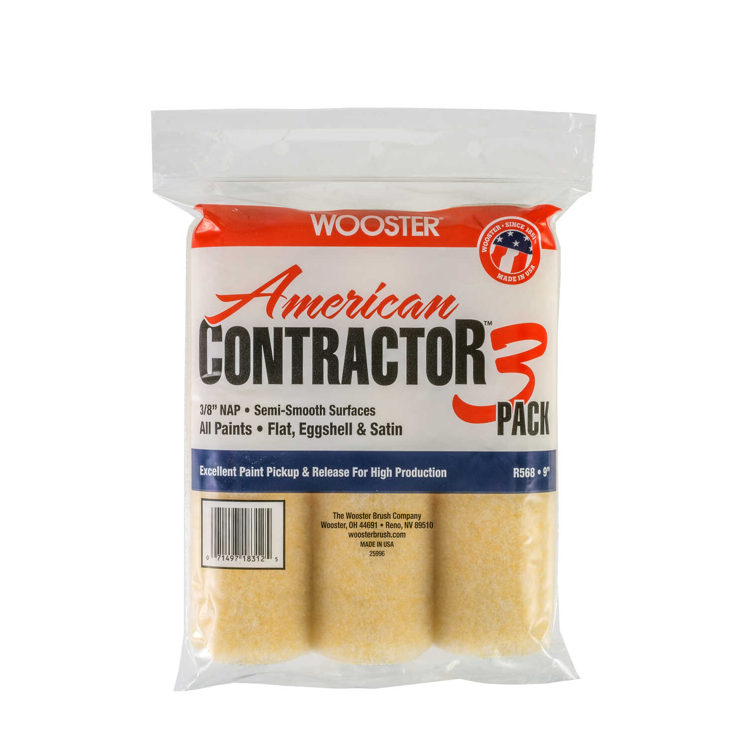 Wooster  American Contractor  Knit  3/8 in.  x 9 in. W Regular  Paint Roller Cover  For Smooth Surfa