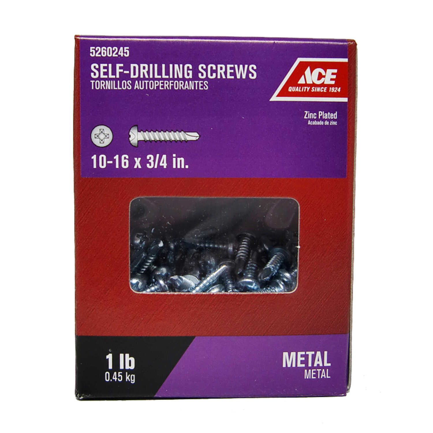 Ace  10-16 Sizes  x 3/4 in. L Phillips  Pan Head Zinc-Plated  Steel  Self- Drilling Screws  1 lb.