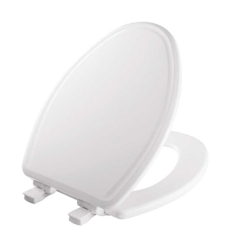 Mayfair Slow Close Elongated White Molded Wood Toilet Seat Ace