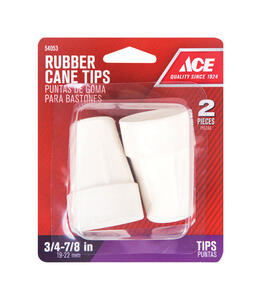 Ace  Rubber  Crutch/Cane Tip  Off-White  Round  7/8 in. W 2 pk