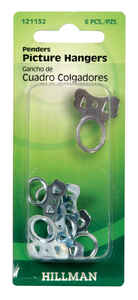 Hillman  AnchorWire  Steel-Plated  Silver  Picture Pender  6 pk