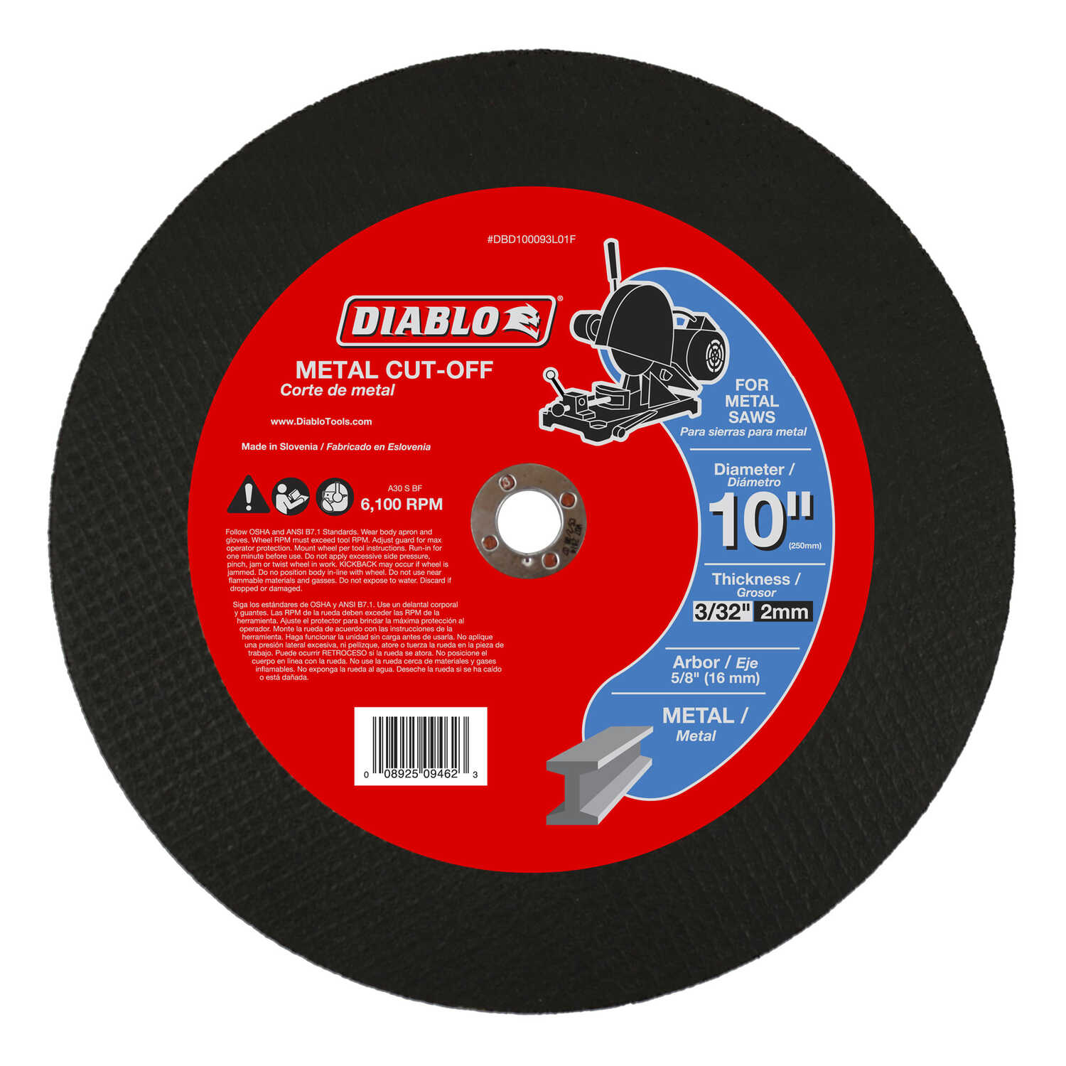 Diablo  10 in. Aluminum Oxide  Metal Cut-Off Disc  3/32 in.  x 5/8 in.   1 pk
