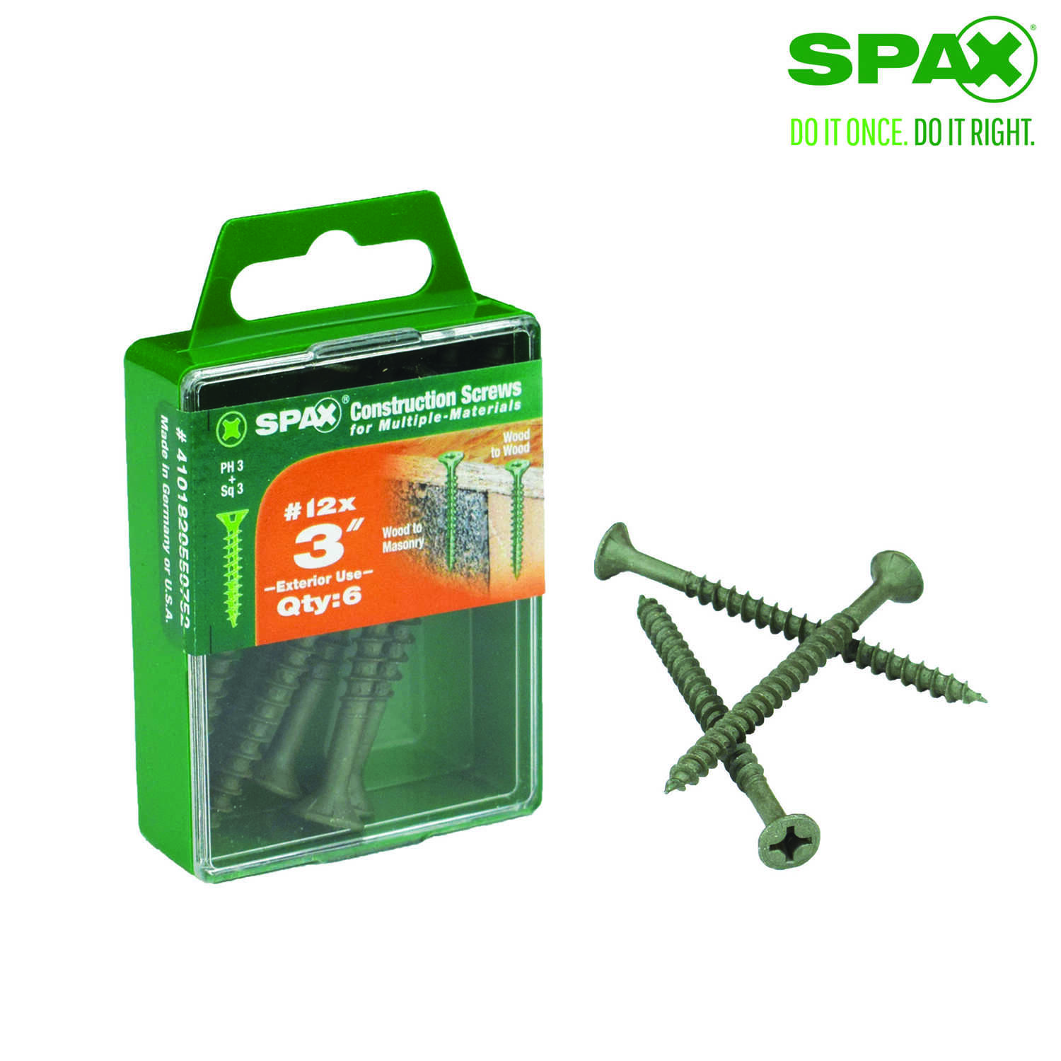 SPAX  No. 12   x 3 in. L Phillips/Square  Flat  High Corrosion Resistant  Steel  Multi-Purpose Screw
