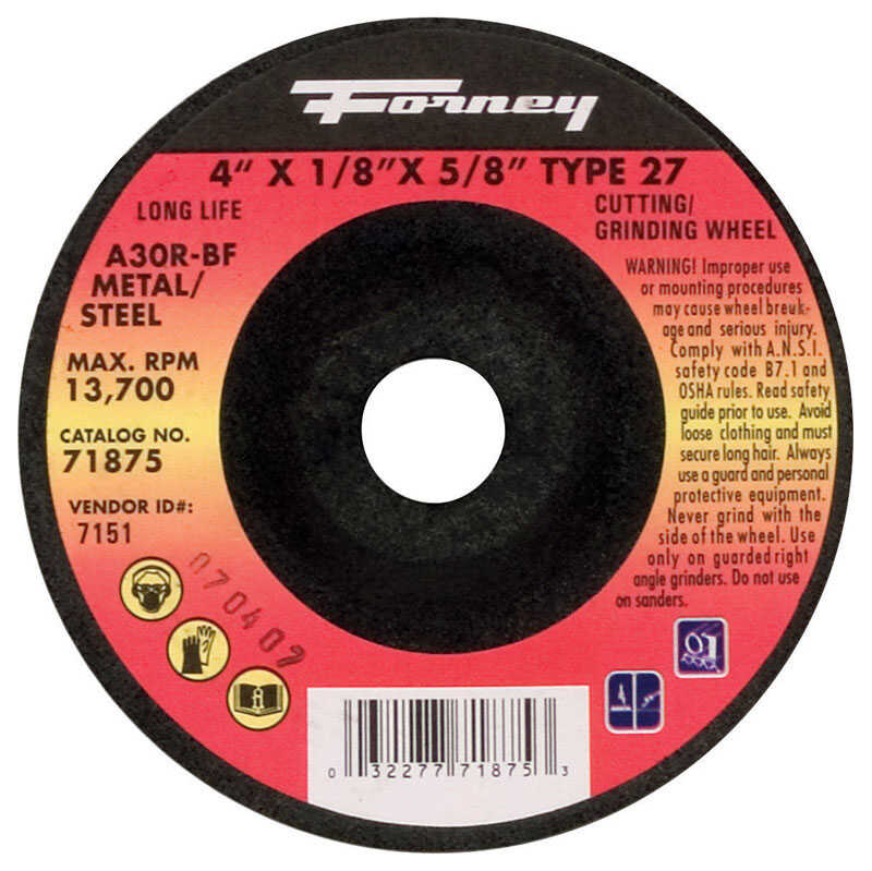 Forney  4 in. Dia. x 1/8 in. thick  x 5/8 in.   Aluminum Oxide  Metal Grinding Wheel  13700 rpm 1 pc