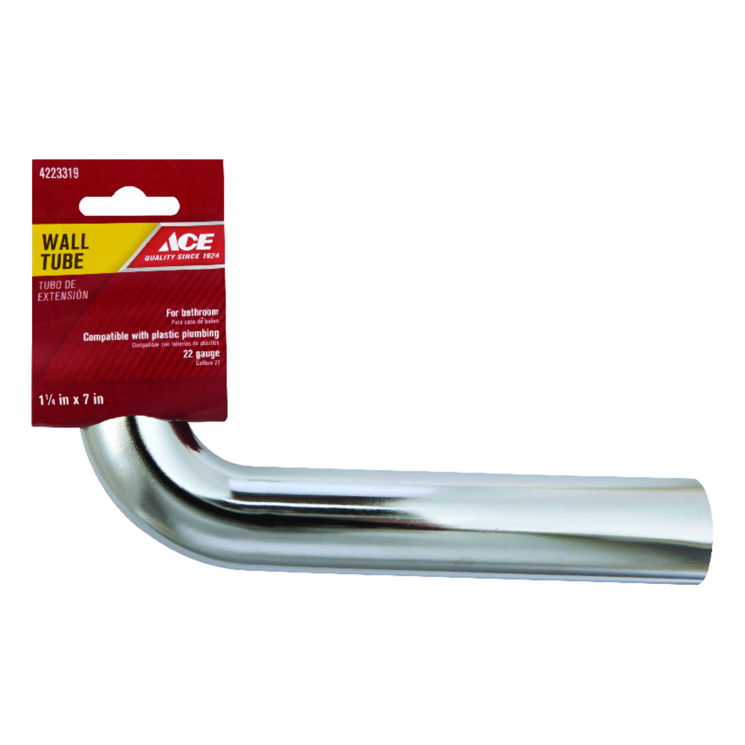 Ace  1-1/4 in. Dia. x 1-1/4 in. Dia. x 7 in. L Slip To Slip  Chrome Plated  Brass  Wall Bend