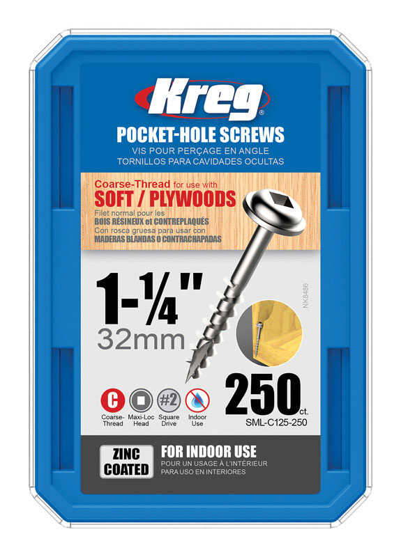 Kreg  No. 7   x 1-1/4 in. L Square  Maxi-Loc Head Zinc-Plated  Steel  Pocket-Hole Screw  250 count