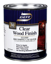 Deft  Wood Finish  Gloss  Clear  Oil-Based  Brushing Lacquer  1 qt.
