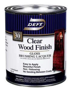 Deft  Clear Wood Finish  Gloss  Clear  Oil-Based  Lacquer  1 qt. Brushing Lacquer