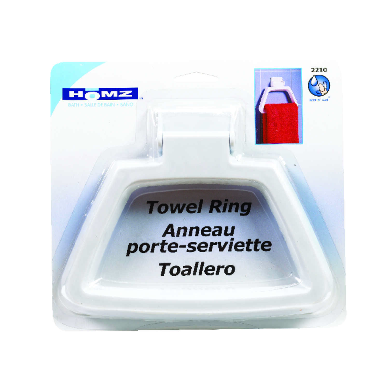 Homz  White Plastic  Towel Ring  Plastic