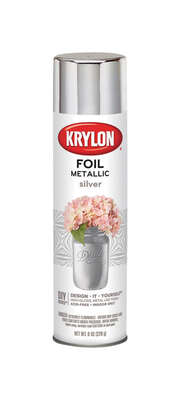 Krylon  Foil  High Gloss  Silver  Metallic Spray Paint  8 oz.