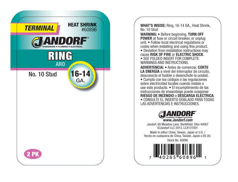 Jandorf  Insulated Wire  Terminal Ring  2 pk 16-14 Ga.