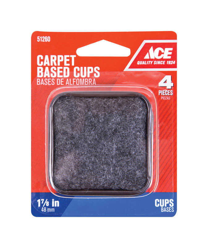 Ace  Plastic  Caster Cup  Brown/Walnut  Square  1-7/8 in. W x 1-7/8 in. L 4 pk