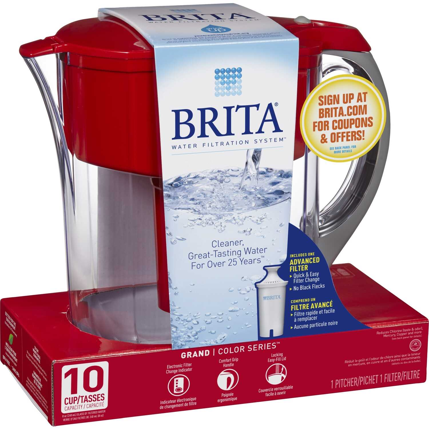 Brita  80 oz. Red  Pitcher  Plastic