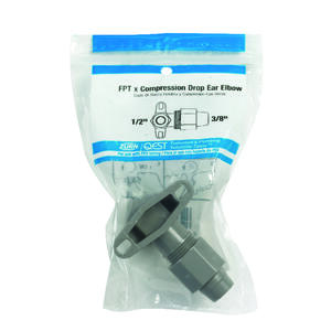 Zurn  3/8 in. CTS   x 1/2 in. Dia. FPT  Polybutylene  Drop Ear Elbow
