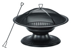 Living Accents  Round Pedestal  Wood  Fire Pit  19 in. H x 29 in. W x 29 in. D Steel
