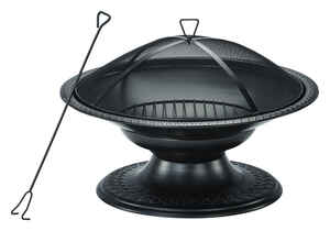 Living Accents  Round Pedestal  Wood  Fire Pit  19 in. H x 29 in. D x 29 in. W Steel