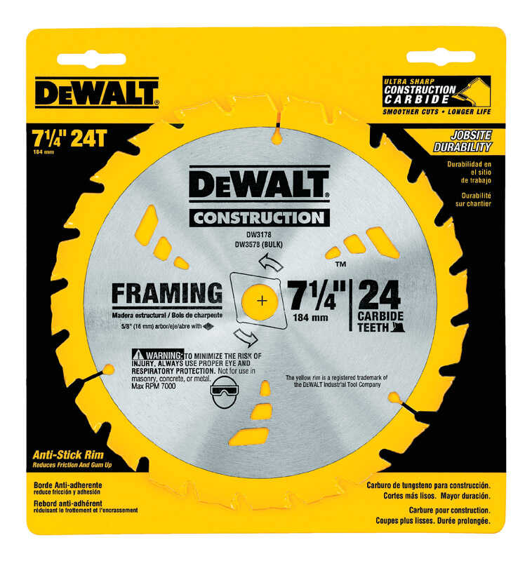 DeWalt  7-1/4 in. Dia. x 5/8 in.  Construction  Circular Saw Blade  Carbide Tipped  24 teeth 1 pk