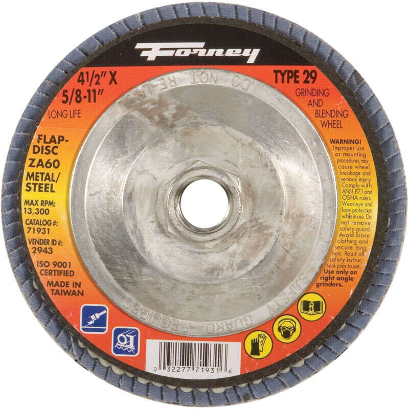 Forney  4-1/2 in. Dia. Zirconia Aluminum Oxide  Thread Arbor Flap Disc  80 Grit 1 pc.