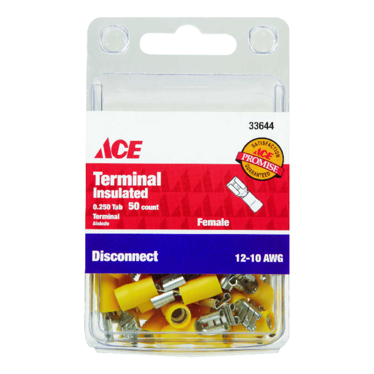 Ace  Insulated Wire  Female Disconnect  Yellow  50 pk