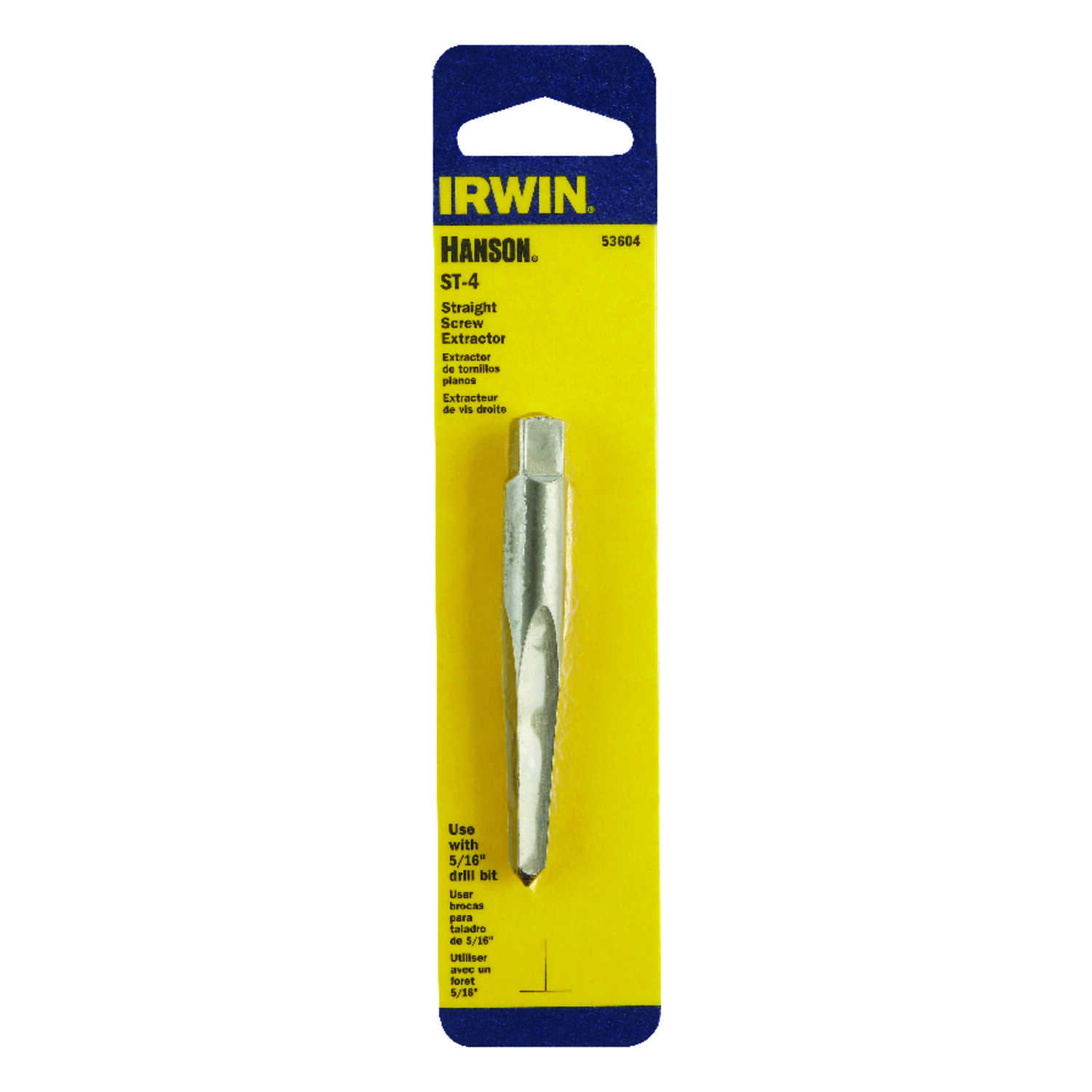 Irwin  Hanson  5/16 in.  x 5/16 in. Dia. Carbon Steel  Straight Screw Extractor  6 in. 1 pc.