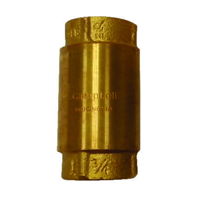 Campbell 3/4 in. Dia. x 3/4 in. Dia. Yellow Brass Spring Loaded Check Valve