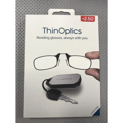 ThinOptics Always With You Black Reading Glasses w/Keychain Case +2.50