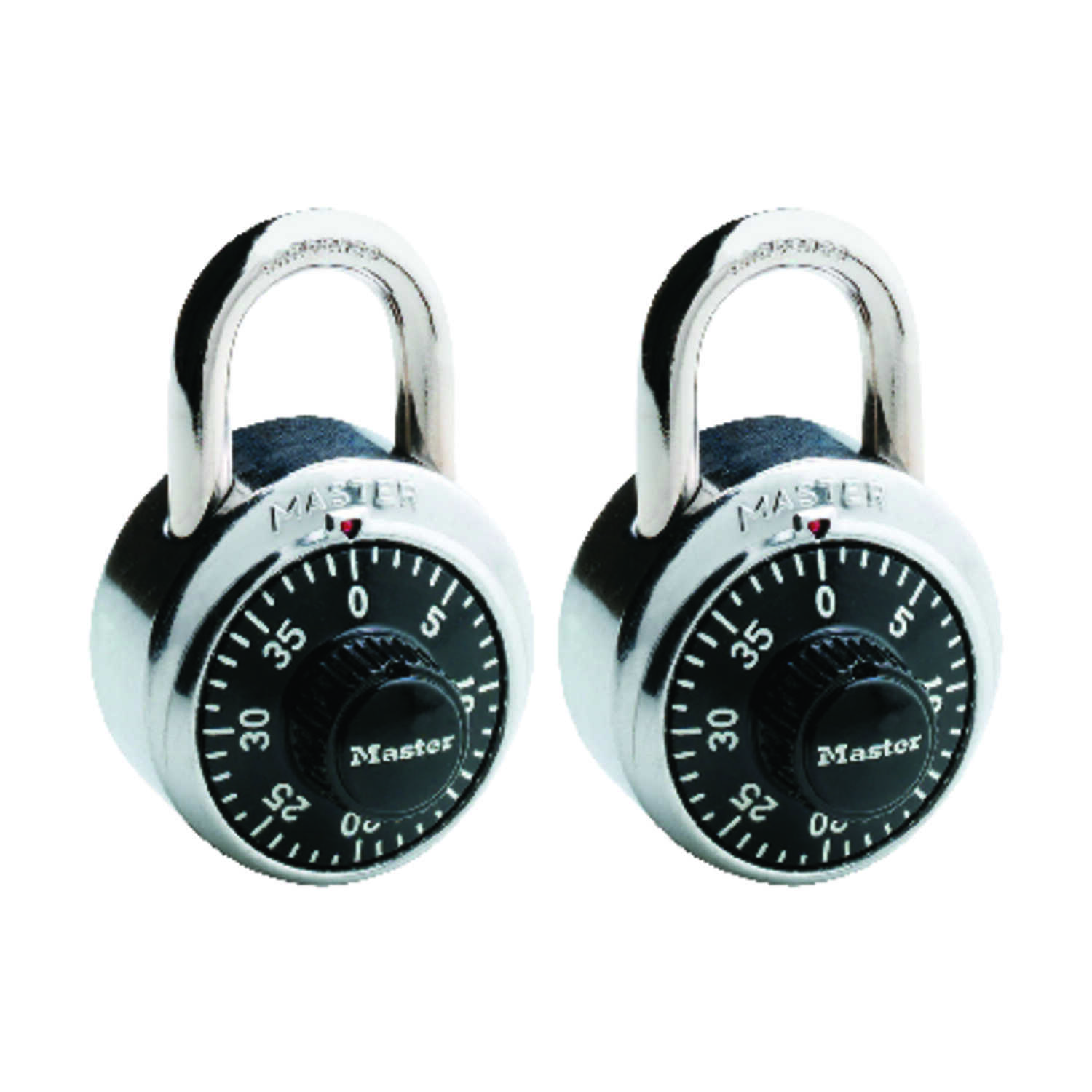 Master Lock  2 in. H x 1-7/8 in. L x 7/8 in. W Steel  Combination Padlock  2 pk Anti-Shim Technology