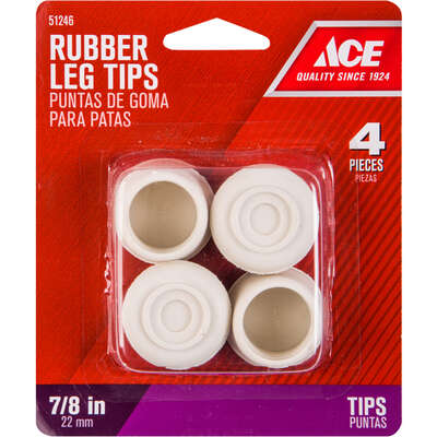 Ace  Rubber  Leg Tip  Off-White  Round  7/8 in. W 4 pk