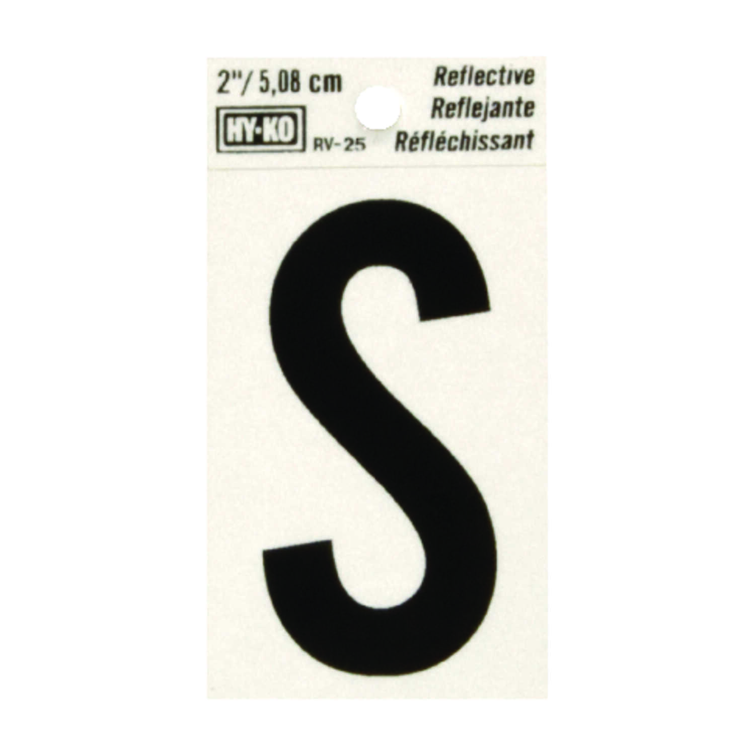 Hy-Ko  Reflective Black  S  Letter  Self-Adhesive  Vinyl  2 in.