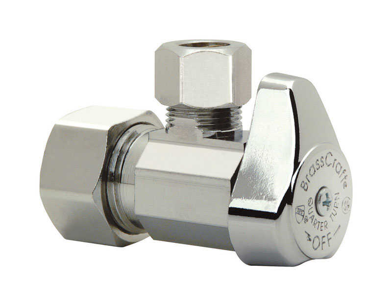 Brasscraft  1/2 in.  x 1/2 in. Dia. x 1/2 in. Dia. x 5/8 in.  Angle  Shut-Off Valve  Brass