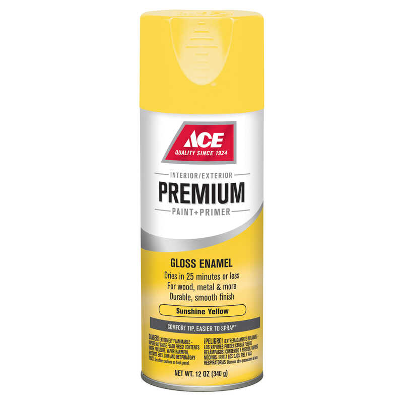 Ace  Premium  Gloss  Sunshine Yellow  12 oz. Enamel Spray Paint