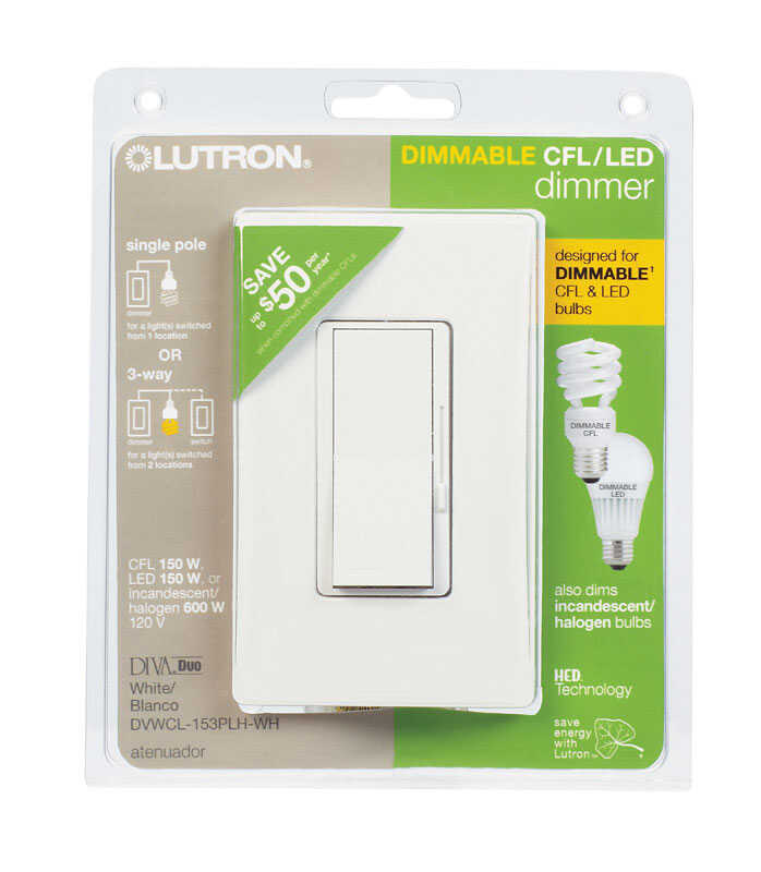 Lutron  Diva  White  125 watts 3-Way  Dimmer Switch  1 pk