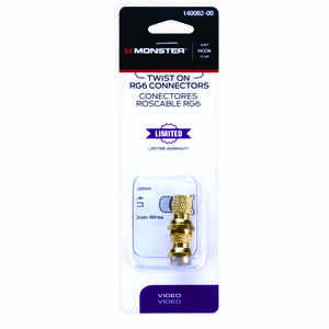 Monster Cable Coax Connectors RG6 75 Ohm Gold 2 Pack