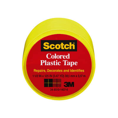 3M  Scotch  Yellow  125 in. L x 1.5 in. W Plastic Tape