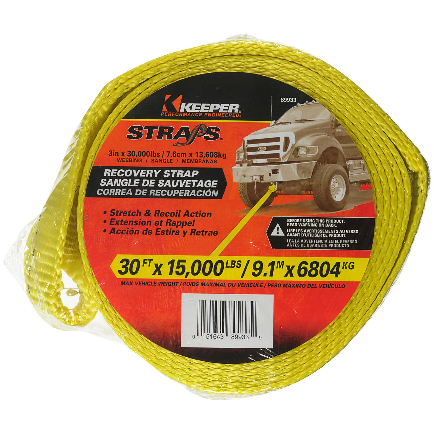 Keeper  3 in. W x 30 ft. L Yellow  Vehicle Recovery Strap  15000 lb. 1 pk