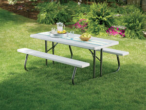 Lifetime Steel White In Folding Picnic Table Ace Hardware - One sided picnic table