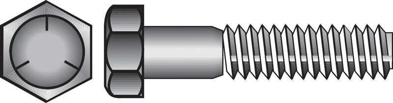 Hillman  1/4 in. Dia. x 1-1/2 in. L Heat Treated Zinc  Steel  Hex Head Cap Screw  100 pk