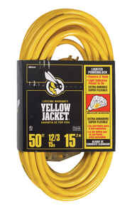 Yellow Jacket  Indoor and Outdoor  50 ft. L Yellow  Triple Outlet Cord  12/3 SJTW