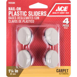 Ace  Plastic  Slide Glide  Off-White  Round  1-1/4 in. W 4 pk