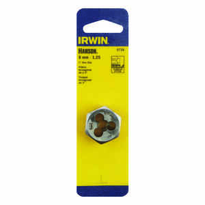 Irwin  Hanson  High Carbon Steel  Metric  Hexagon Die  8mm-1.25  1 pc.